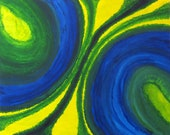 Blue,Green and Yellow Abstract Painting