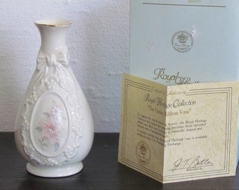 Royal Heritage Porcelain Cameo Ribbon Vase with COA