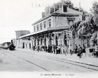 Train Station Photo Postcard from WWI in France
