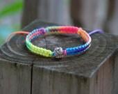 Small Neon Rainbow Rhinestone Charm Bracelet
