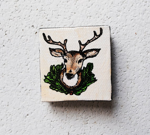 Tiny Deer Portrait.   Original Oil Painting.
