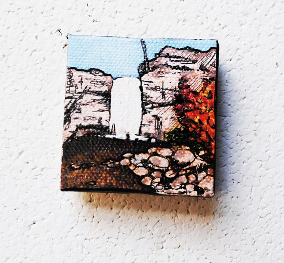RESERVED Minnewaska.   Original Oil Painting.  Mini.  2x2.  Small.  Autumn Decor.  Rustic.  Landscape.  Hiking.