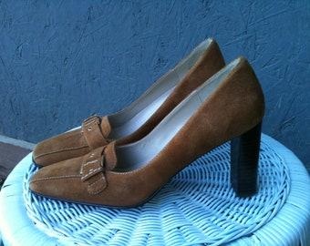 Vintage  Anne  Klein Brown Suede Pumps ,High Heel Shoes with three inch high heels