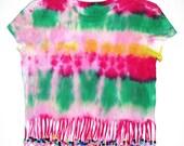 Tie dyed shirt with beaded fringe