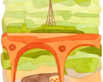 Abstract Art Print Mid Century Modern Art Print 'Penge Bridge' green orange brown 8 x 10