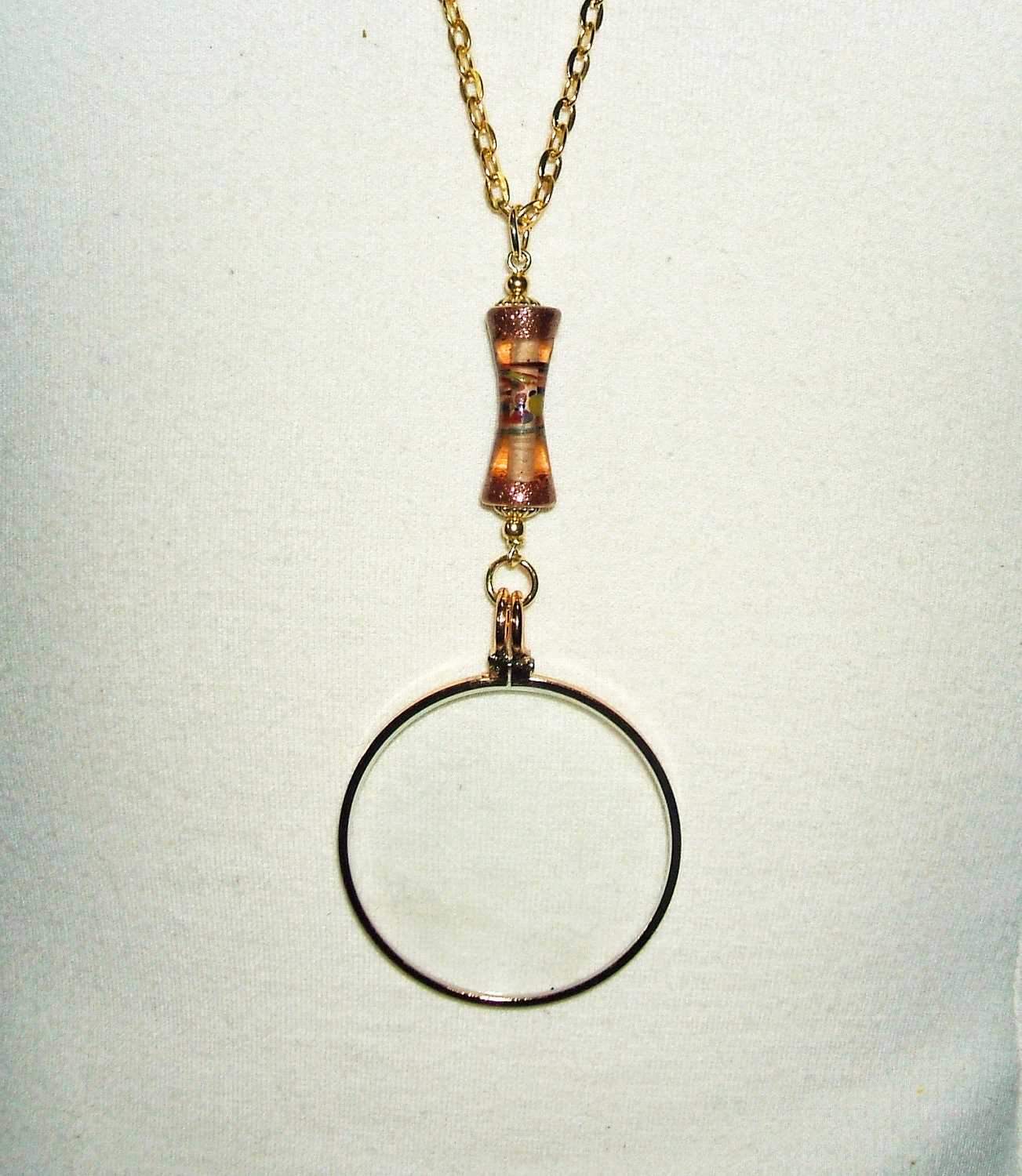 magnifying glass necklace pendant lwork glass bead
