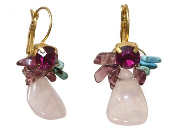 Amazing Rose Quartz Amethyst and Turquoise Earrings - Evening Jewelry - Formal Jewelry - Colorful Earrings - Elegant Jewelry