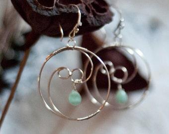 Hoop Earrings in Sterling Silver with Blue Green Aventurine Gemstones, Yin Yang,  Tao, Balance, Original Design