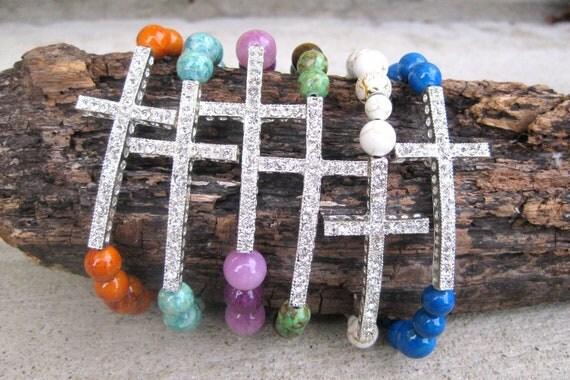 Rhinestone Cross Stretch Bracelets, Colorful Bracelets, Turquoise Cross Bracelet, Stretch Bracelet,Rhinestone Cross Bracelet