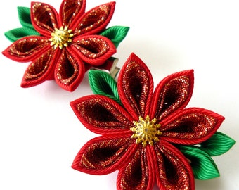 Kanzashi fabric flowers. Set of 2 hair clips. Red and green.
