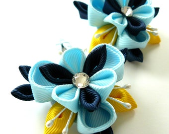 Kanzashi fabric flowers. Set of 2 hair snap clips. Lt. blue, navy blue and yellow.