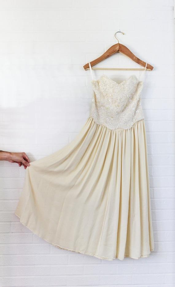Vintage Ivory Wedding Dress 1950's strapless  wedding dress beaded sequin sheer overlay vintage formal wear vintage wedding attire