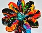 Multicolored daisy kanzashi hair flower clip