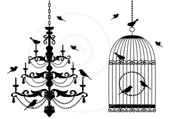 Chandelier and vintage birdcage with birds, digital clip-art, clipart, clip art set, cottage chic, scrapbooking, EPS, SVG, instant download