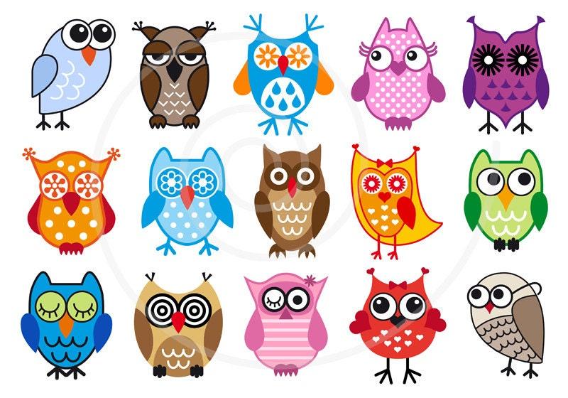 Cute Owls Digital Clip Art Set Clipart Vector Graphic