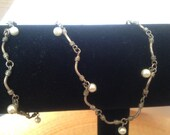 Vintage Antiqued Finish Metal & Pearl Choker