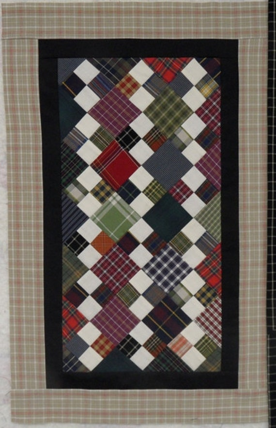 Four-Patch Quilt Top - Table Runner - Ready to Quilt - Plaids
