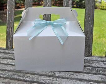 12 White Glossy Gable Box - Favor Box, Lunch Box, Picnic Box