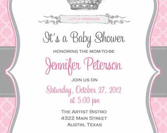 Baby Shower Invitation - Princess Crown for Girl- DIY Printable - Royal Pink