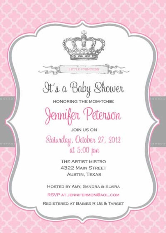 items similar to baby shower invitation princess crown for girl diy