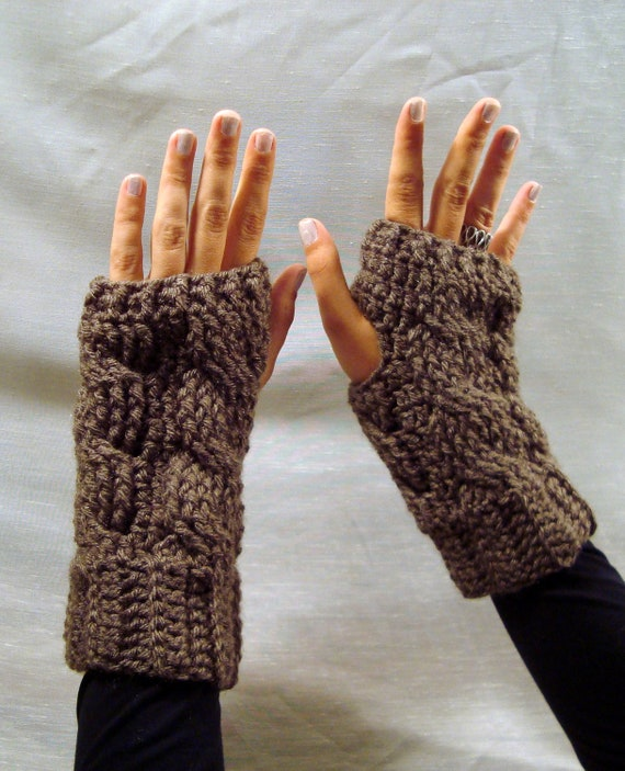 Dark Taupe / Brown Cabled  Fingerless Mittens / Wrist Warmers