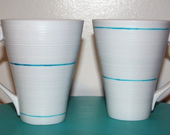 Set of 2 Turquoise Blue Painted Line Etched Ridged Modern Tall White Mugs Coffee Tea Hot Chocolate Gift