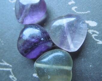 Fluorite Gemstone Heart Beads - approx 14mm