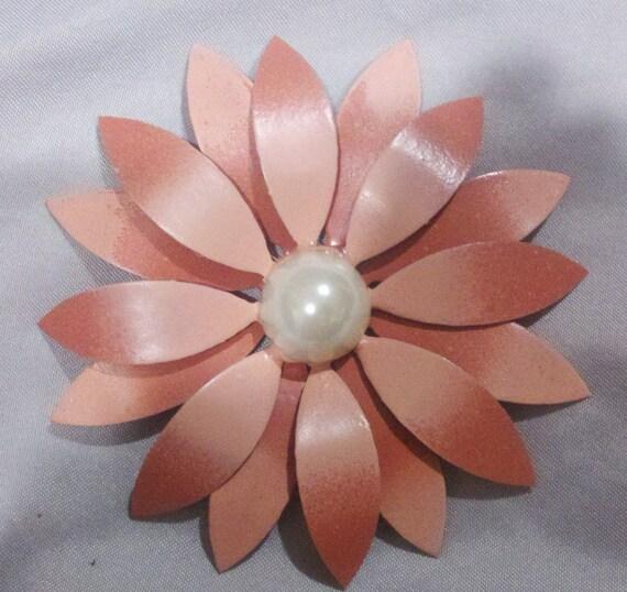 Peach Enamel Flower Brooch Pin- Big Double Daisy for Bridal Bouquet, Wedding or Wear