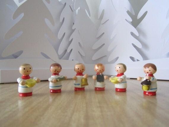 on SALE - Wooden miniature choir boy figurines