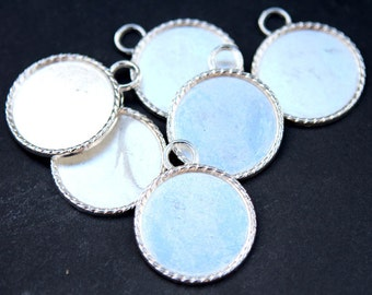 Silver Pendant Tray 25mm,1 inch Bezel Pendant,Bottle Cap Jewelry Supply, Cameo Setting 25mm Pendant Tray blanks - 20 pcs