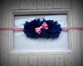 royal blue shabby flowers and light pink sequin bow, newborn headband/baby headband / photo prop / light pink skinny elastic / baby - adult