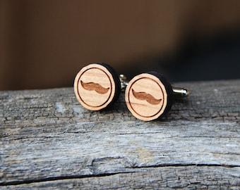 Wood Mustache Cufflinks - Cherry