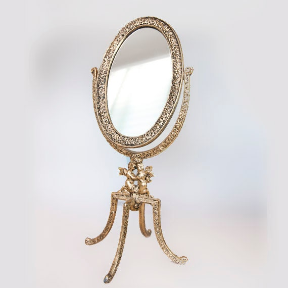 Makeup Mirror On Stand Vintage Brass Standing Mirror