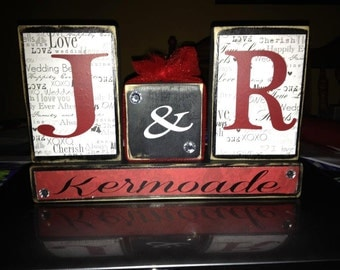 Personalized family initials last name wedding anniversary primitive wood block set home decor wedding birthday anniversary gift