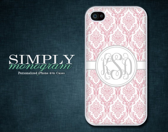 Monogram iPhone 4 Case iPhone 4s Case iPhone 5 Case iPhone 5s Case iPhone 5c Case - light pink damask monogram