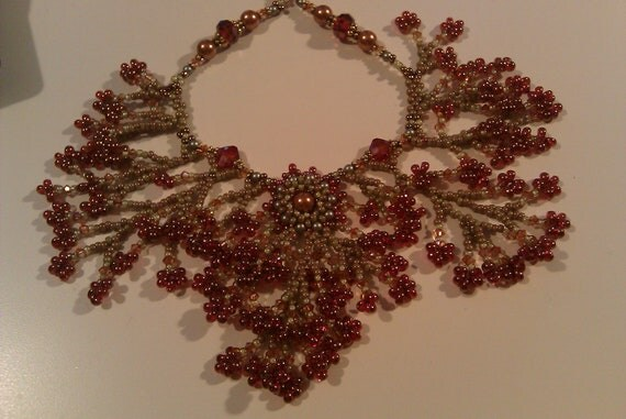 Woven Berry clusters and branches Necklace in soft olive green luster and and deep berry color drops