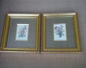 SALE Shabby Chic French Flower Prints w/ Gold Frames