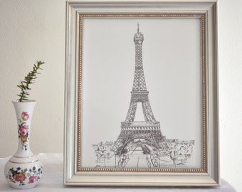 Eiffel Tower Art - print of my original drawing  of a Paris building using pen, ink, illustration Bastille Day