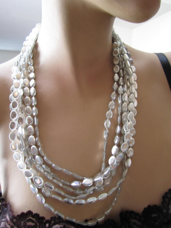 Vintage disco multistrand necklace with flat sliver mirror like beads