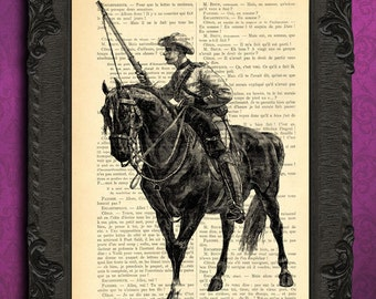 antique cavalry print military art soldier on horse book page army home decor man with riffle