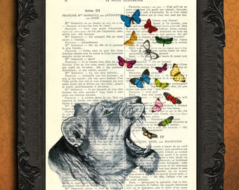 Roaring lioness butterflies print vintage illustration book page lion dictionary art