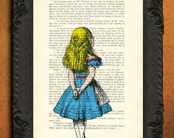 alice in wonderland art print alice in wonderland mixed media alice in wonderland illustration printed on dictionary paper