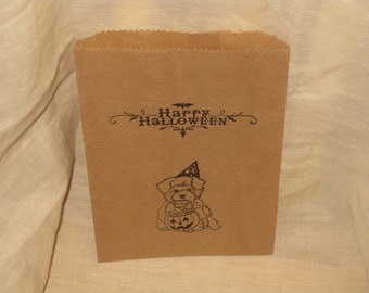 Happy Halloween Treat Bag Puppy with Candy Brown Paper Bag Trick or Treat Bag