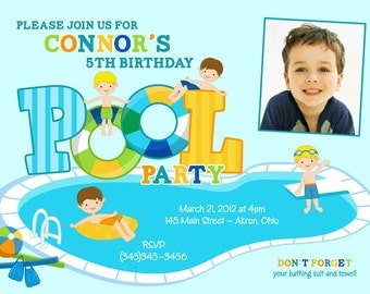 Swimming Pool Party Kids Summer Photo Birthday Invitations | Custom Design | Professionally Printed Card Stock | Boy Girl Twin Stationery