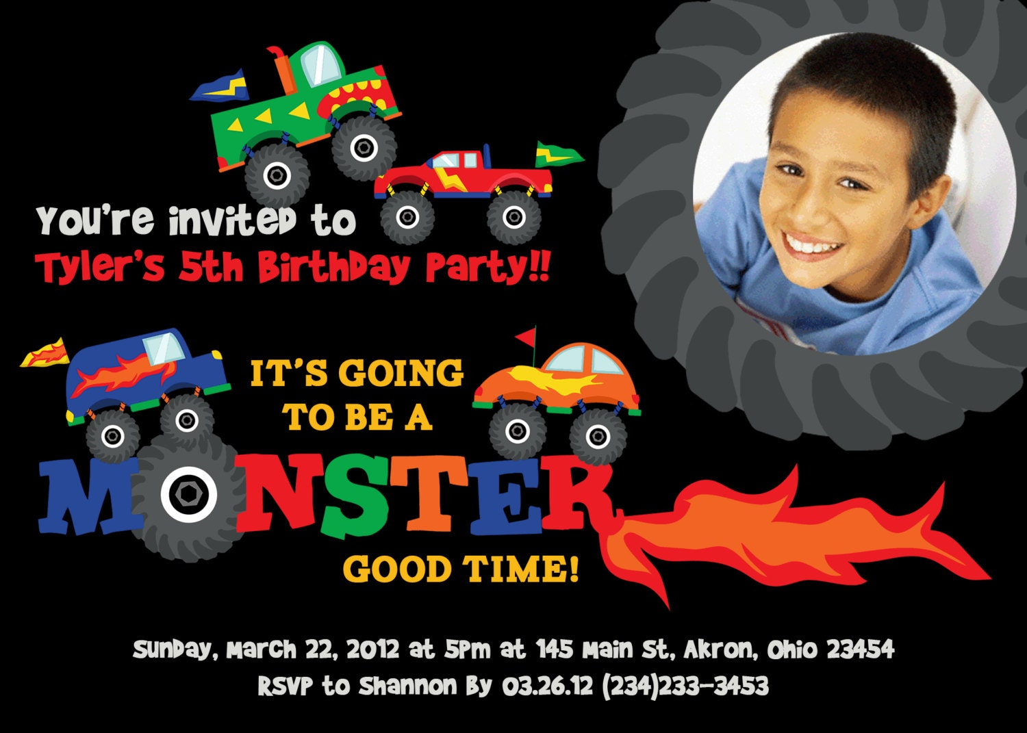 Monster Truck Photo Birthday Invitations by PhotoInvitations