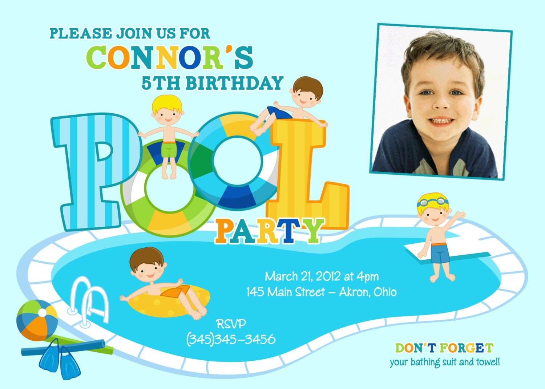 Swimming pool party kids summer photo birthday invitations Swimming pool birthday party invitations