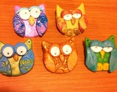 Bright & Colorful Owl pin or brooch made from polymer clay