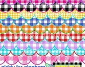 Digital Clip Art -- Giddy for Gingham Scallop Borders (Instant Download)