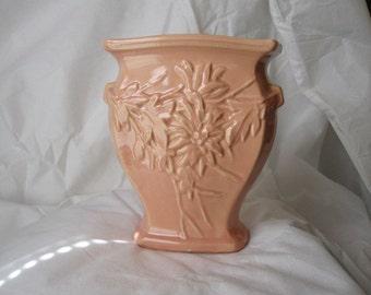 McCoy Embossed Vase  coral 1948