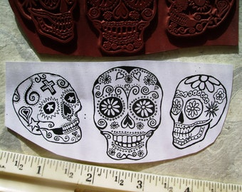 Dia de Los Muertos  Day of the dead skulls  3 sizes  lg rubber stamps un-mounted scrapbooking rubber stamping